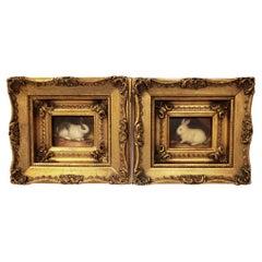 Miniaiture Paintings of Rabbits, a Pair