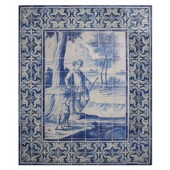 """18th Century Portuguese """" Azulejos """" Panel """"The Boy and the Dog"""""""