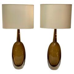 Seguso Vetri d'Arte Signed Pair of Midcentury Murano Glass Table Lamps