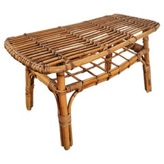 1960s Italian Bamboo Rattan Bohemian French Riviera Bench Stool or Accent Table