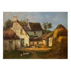 Circa 1878 Barbizon Barnyard Scene of d'Huyson, France by François de Blois