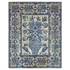 """17th Century Portuguese """"Azulejos"""" Panel """"Vase"""""""