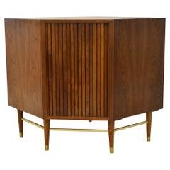 Mid-Century Modern Walnut Side Cabinet by Furnette Tambour Door