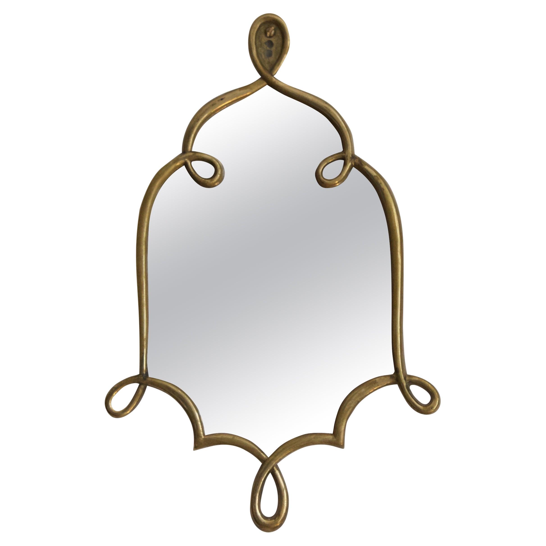 Italian, Small Organic Wall Mirror, Brass, Mirror Glass, Italy, 1940s