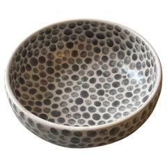 Grey Dots White Stoneware Soup Bowl