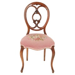 Antique Victorian Walnut Stuffover Upholstered Side Chair, Scotland, 1870