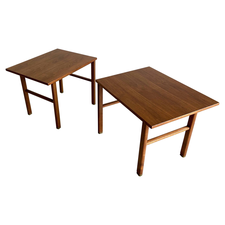 Vintage Edward Wormley for Dunbar Walnut Side Tables, a Pair