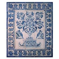 """17th Century Portuguese """" Azulejos """" Panel """" Vase """""""