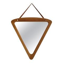 Swedish, Wall Mirror, Solid Oak, Mirror Glass, Leather, Sweden, 1960s
