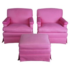 2 Mid Century Pink Chairs & Ottoman Walnut Library Reading Lounge Set Chic