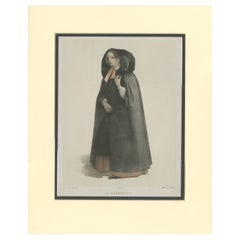 Antique Print of a Lady from Bruges by Buffa & Cie 'c.1845'
