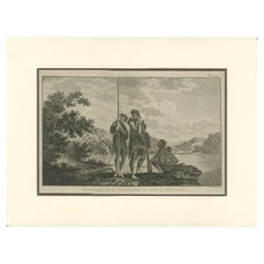 Antique Print of a Maori Family by Cook '1803'