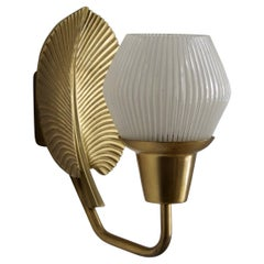 ASEA, Wall Light, Brass, Fluted and Semi Frosted Glass, Sweden, 1950s