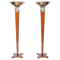 Pair of Wood, Bronze and Glass Floor Lamps, Argentina circa 1950