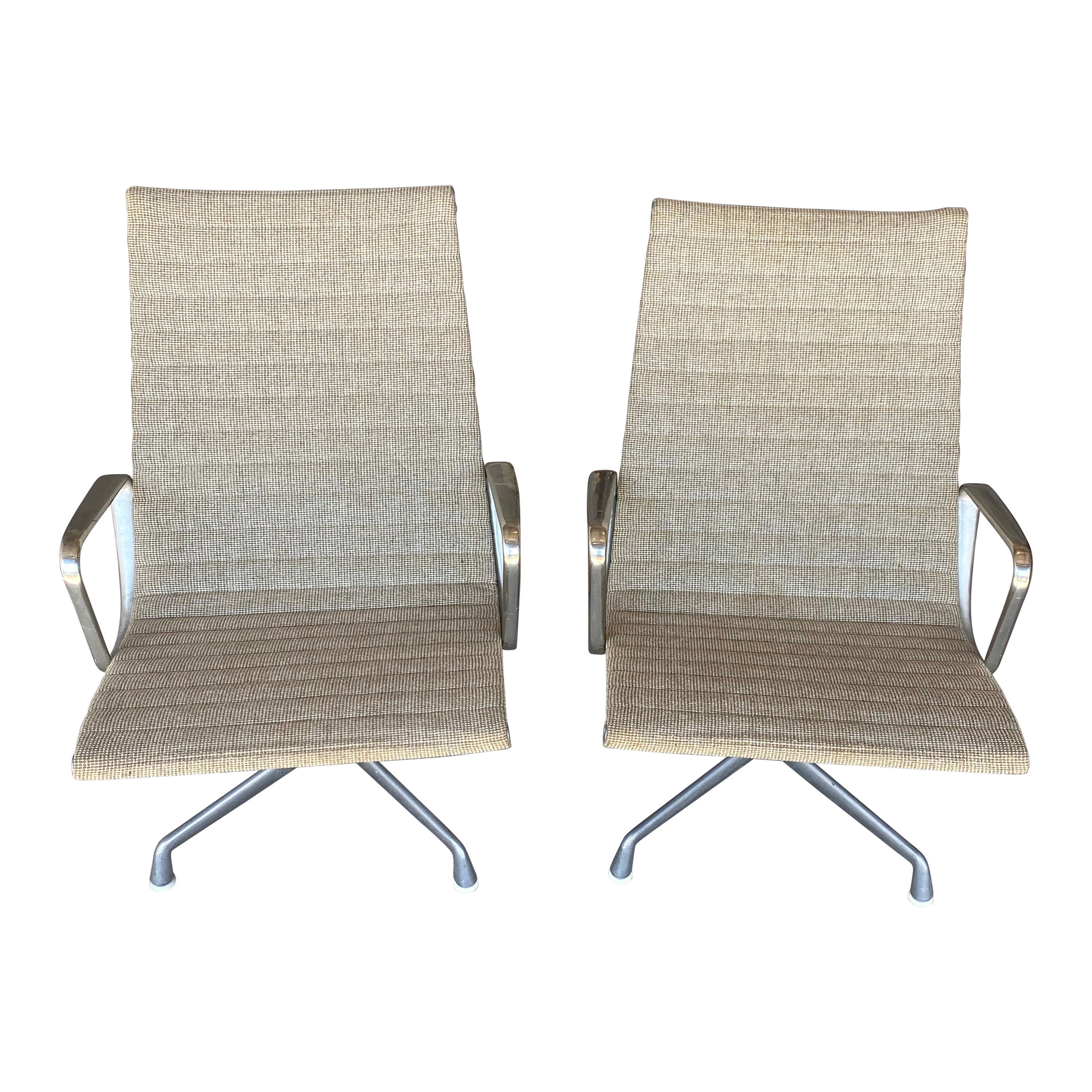 Pair or Eames Aluminum Group Lounge Chairs with Alexander Girard Textile