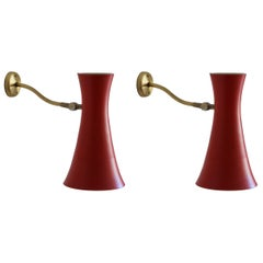 Swedish, Adjustable Wall Lights, Brass, Red Lacquered Metal, Sweden, 1950s
