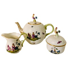 Whimsical Herend Chanticleer Teapot, Sugar and Creamer with Figural Chicken Tops