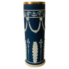 Blue Wedgwood Jasperware Vase Decorated With Rams Heads & Lilies of the Valley