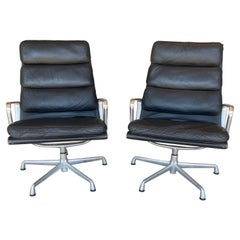 Pair of Black Leather Eames Soft Pad Aluminum Group Lounge Chairs