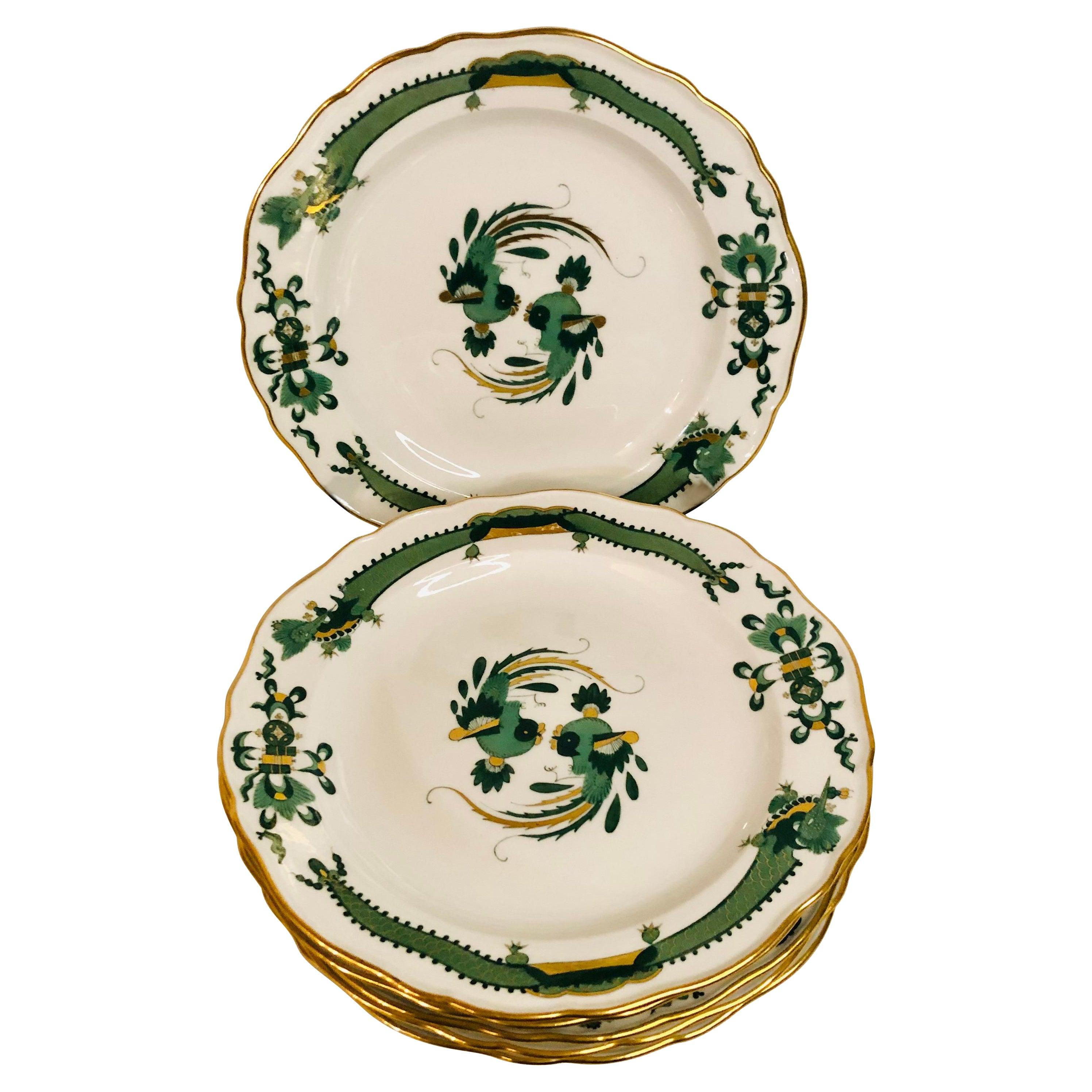 Six Meissen Green Court Dragon Dessert Plates With Phoenix Birds and Dragons