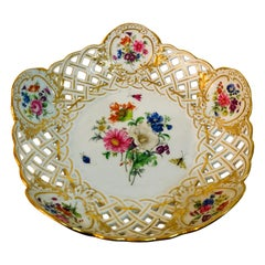 Meissen Reticulated and Fluted Bowl With central Flower Bouquet and Insects