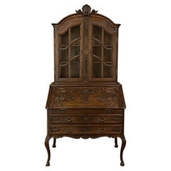 Antique Country French Regence Style Secretary, Bookcase