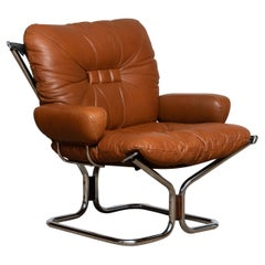 1970's Cognac Leather and Chrome Lounge Chair by Harald Relling for Westnofa