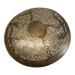 Moroccan Bronze Perforated Design Ceiling Mount Chandelier, Contemporary