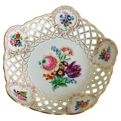Meissen Reticulated Fluted Bowl with a Bright & Colorful Central Flower Bouquet