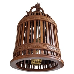 20th Century Wood and Bronze Lamp from France
