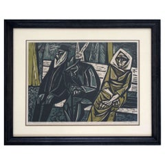 Mid-Century Modern Irving Amen Signed Evening 1950 Color Lithograph 11/25 Framed