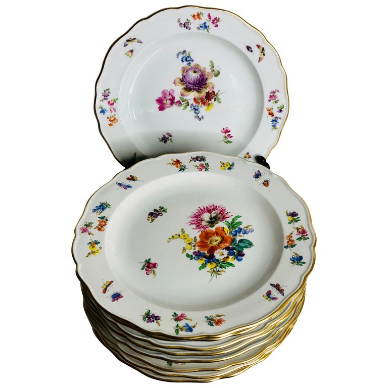 Set of 12 Meissen Luncheon Plates Each Painted with a Different Flower Bouquet For Sale