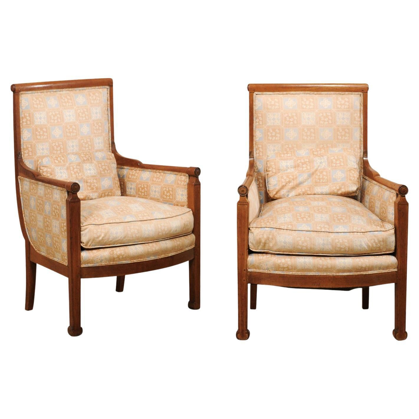 French Pair of Carved-Wood & Upholstered Square-Back Armchairs, Mid 20th Century