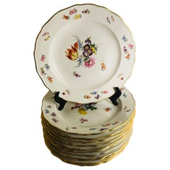 Set of 12 Meissen Dinner Plates Each Painted with a Different Bouquet of Flowers