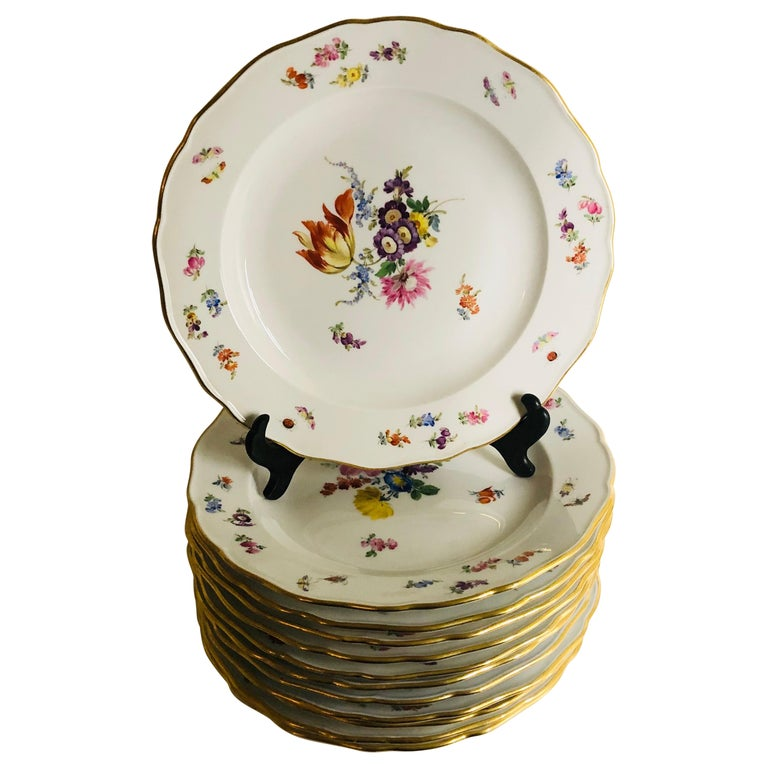 Set of 12 Meissen Dinner Plates Each Painted with a Different Bouquet of Flowers For Sale