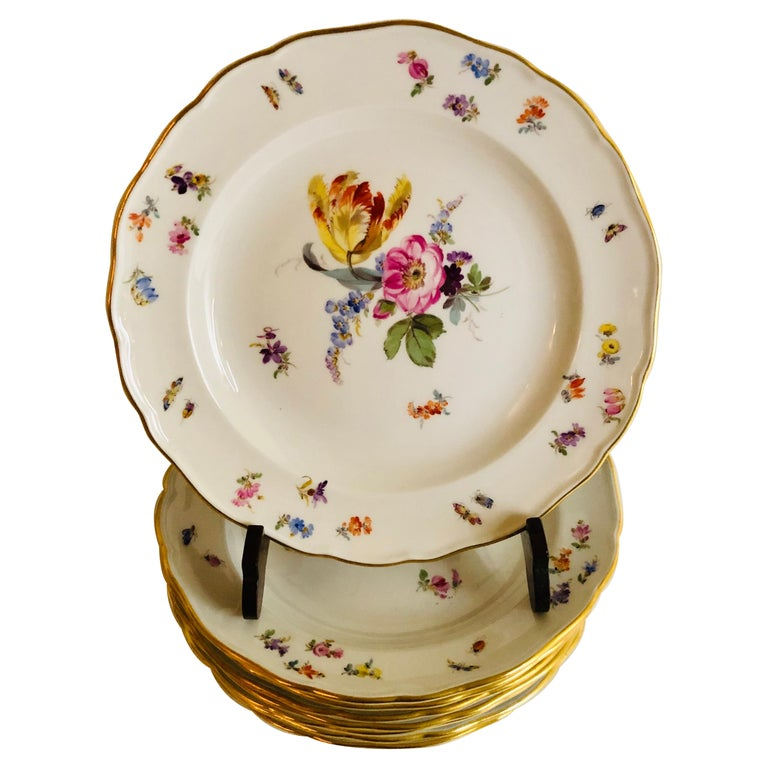 Set of Eight Meissen Dessert Plates Each Painted with a Different Flower Bouquet For Sale