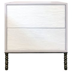 2-Drawer Stripe Nightstand with Vintage Style Base by Ercole Home