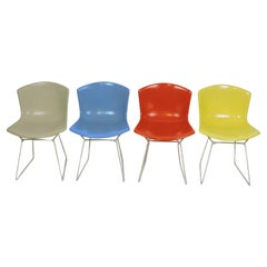 Early Set of Four Harry Bertoia Molded Shell Side Chairs for Knoll, Labeled