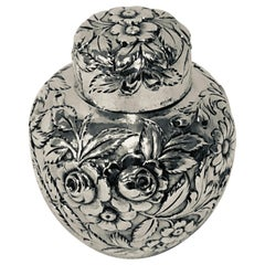 Signed S. Kirk Sterling Silver Tea Caddy with Repousse on All Sides and Cover
