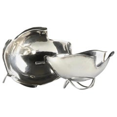Alfredo Sciarotta Cartier Sterling Silver Leaf Form Bowls, Pair