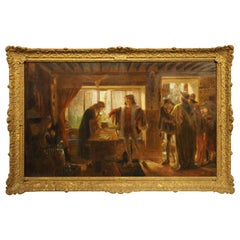 Signed Antique English Oil on Canvas in Giltwood Frame, 19th Century