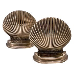 Vintage Hollywood Regency Polished Brass Sea Shell Sculpture Pair of Bookends