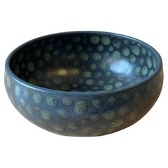 Green Dots on Black Small Hand-Thrown Stoneware Bowl