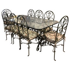 to Die for Very Large Wrought Iron and Glass Dining Table with 8 Matching Chairs