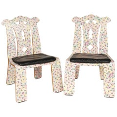 Pair of Robert Venturi for Knoll 'Chippendale' Chair in 'Grandmother' Pattern
