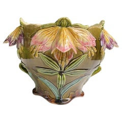 French Majolica Flowers Jardiniere Fives Lille Circa 1890