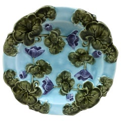 Small German Majolica Violets Plate, Circa 1900