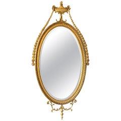 English Adam Style Oval Gilt Mirror, Early 20th Century
