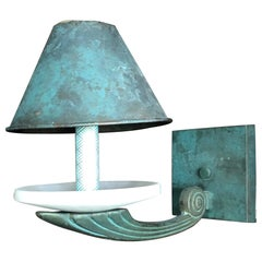 Gorgeous Turquoise Patinated Copper and Alabaster Wall Sconce