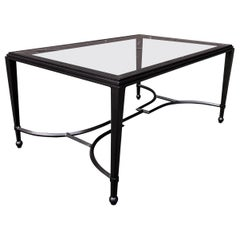 Iron and Glass Coffee Table in Patinated Bronze Finish